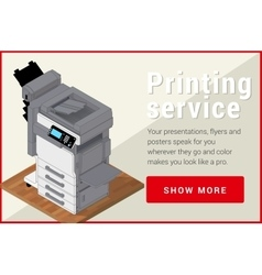 Copier printer isometric flat 3d vector