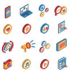 Social Network Isometric Icon Set vector image