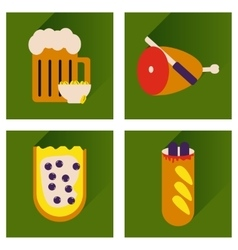 Set flat icons with long shadow snacks for vector