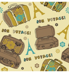 Bon voyage paris vacation vector