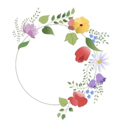 wreath of flowers and leaves vector image