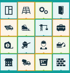 Building icons set collection of cogwheel vector