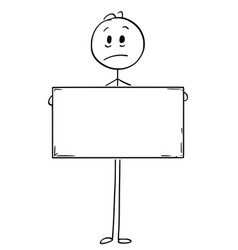 Cartoon of sad man holding empty or blank sign vector