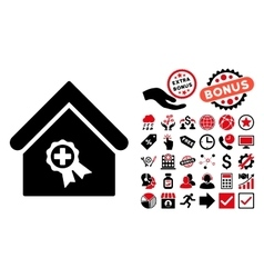 Certified Clinic Building Flat Icon with vector image vector image
