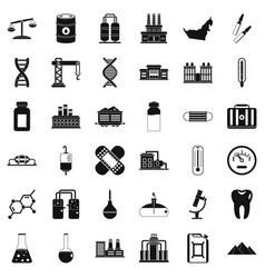 Chemical barrel icons set simple style vector