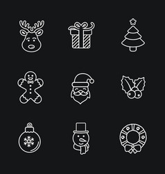 Christmas icons thin line style flat design vector