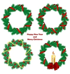 Christmas wreath with baubles and tree vector image vector image
