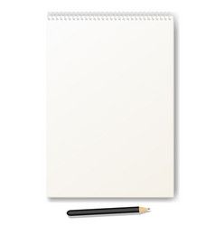 Clean drawing album with a pencil vector