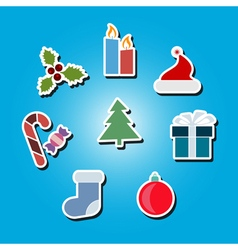 color icons with Christmas symbols vector image