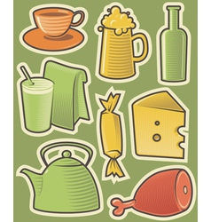 Color icons with food vector image vector image