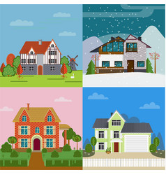 Colorful suburban cottages flat concept vector