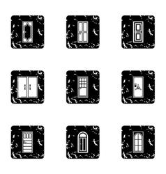 Door icons set grunge style vector image vector image