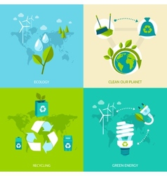 Ecology and recycling set vector image vector image