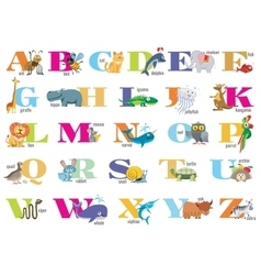 English alphabet for children with cute animals vector