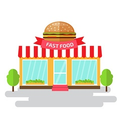 Fast food shop of flat style building vector image
