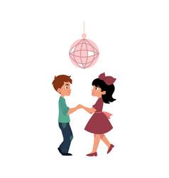Flat boy and girl dancing at party vector
