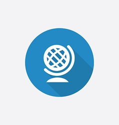 globe Flat Blue Simple Icon with long shadow vector image vector image