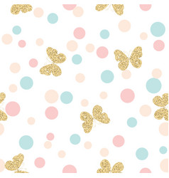 gold glittering butterflies seamless pattern on vector image vector image
