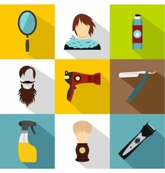 Hair cut icons set flat style vector