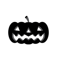 Halloween pumpkin with scary face on white vector image vector image