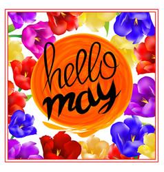 Lettering hellow may sun orange background with vector