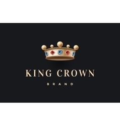 Logo with gold king crown and inscription king vector