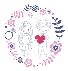 Loving just married couple vector image vector image