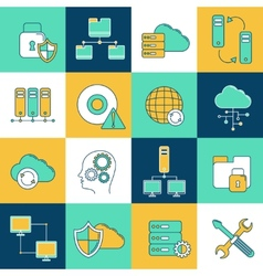 Network and server icon set vector image