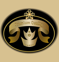 premium quality label in golden design with royal vector image