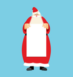 Santa claus and blank sheet template isolated vector
