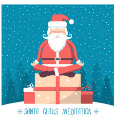 Santa meditation and sitting on big present box vector