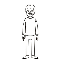 silhouette cartoon full body male person with vector image vector image