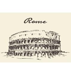 Streets rome colosseum drawn sketch vector