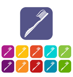 Toothbrush with toothpaste icons set flat vector
