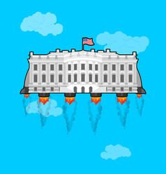 White house flying with rocket turbo usa vector