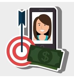 Woman smartphone target money bills vector