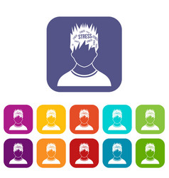 Word stress in the head of man icons set vector