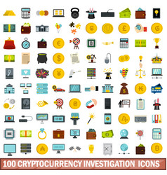 100 cryptocurrency investigation icons set vector