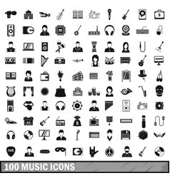 100 music icons set simple style vector image