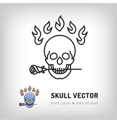 Skull logo design template line art icon vector