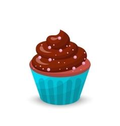 Sweet food chocolate creamy cupcake set isolated vector image