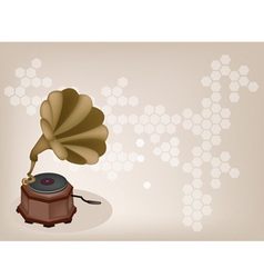 Vintage gramophone background vector