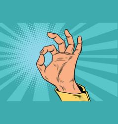 Ok gesture signal man hand okay vector