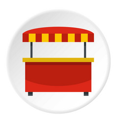 Store kiosk with red and yellow awning icon circle vector