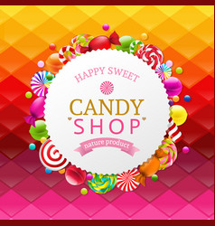 Colorful background with candy banner vector