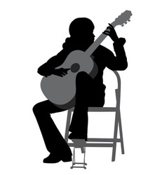 Young woman playing acoustic guitar vector