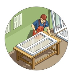 Worker make window vector