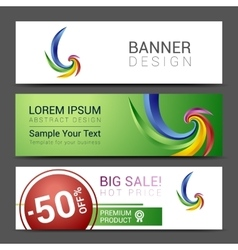 Creative banner set with lines logo blank vector