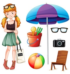 Hipster girl and beach objects vector
