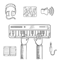 Sound recording and music icons sketch vector